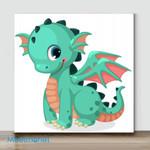 Mini – Cute Green Dragon(Already Framed Canvas)