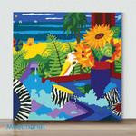 Mini – Sunflowers With Beach View(Already Framed Canvas)