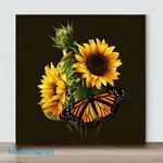 Mini – Sunflower And Butterfly#1(Already Framed Canvas)