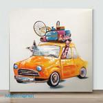Mini-Orange Car With Animals(Already Framed Canvas)