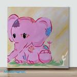 Mini-purple elephant(Already Framed Canvas)