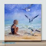 Mini-Girl with seagull(AlreadyFramedCanvas)