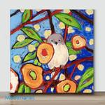 Mini-Bird in flower(Already Framed Canvas)