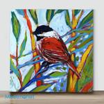 Mini-Bird on branch #7(Already Framed Canvas)