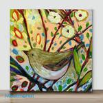 Mini-Bird on branch #5(Already Framed Canvas)