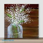 Mini-Vase flower #2(Already Framed Canvas)