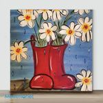 Mini-Vase flower #7(Already Framed Canvas)