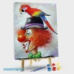 Parrot on the head of the clown