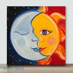 Moon And Sun-4– Mini DIY Paint by Number Kits (Already Framed Canvas)