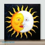 Moon And Sun-3– Mini DIY Paint by Number Kits (Already Framed Canvas)