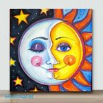 Moon And Sun-2– Mini DIY Paint by Number Kits (Already Framed Canvas)