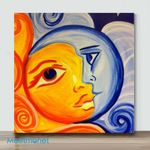 Moon And Sun-1– Mini DIY Paint by Number Kits (Already Framed Canvas)
