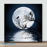 Mini-The Crow And Its Moon(Already Framed Canvas)