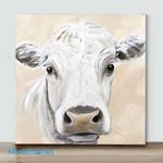 Mini-White Cow Acrylic Painting(Already Framed Canvas)
