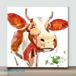 Mini-Watercolor Cow (Already Framed Canvas)