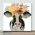 Mini-Cow Clipart Flower(Already Framed Canvas)