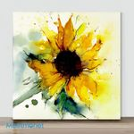 Mini – Golden sunflower#2 (Already Framed Canvas)