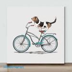 Mini-Basset Hound On Bicycle(Already Framed Canvas)
