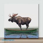 Mini-Moose In Canoe(Already Framed Canvas)