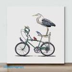 Mini-Birds On Bike(Already Framed Canvas)