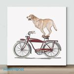 Mini-Golden Lab On Bicycle(Already Framed Canvas)