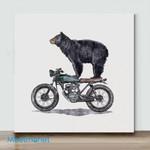 Mini-Black Bear On Motorcycle(Already Framed Canvas)
