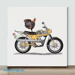 Mini-Rooster On Yamaha(Already Framed Canvas)