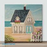 Mini-Coastal Beach House (Already Framed Canvas)