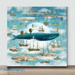 Mini-Ocean Meets Sky Square #3(Already Framed Canvas)