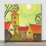 Quiet Village 2– Mini Paint by Number Kits (Already Framed Canvas)