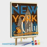 New York Vintage Print Night Owl