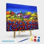Tuscan Scene With Red and Blue Flowers
