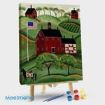 American Folk Art Red QuiltHorse Barn