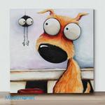 Mini - Big Eye Chicken And Dog#5(Already Framed Canvas)