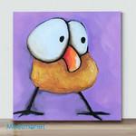 Mini - Big Eye Chicken#7(Already Framed Canvas)
