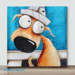Mini - Big Eye Dog In A Hat(Already Framed Canvas)