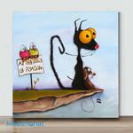 Mini - Big Eye Chicken And Dog#9(Already Framed Canvas)