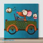 Mini - Big Eye Chicken And Big Eye Mouse#4(Already Framed Canvas)