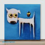 Mini - Big Eye Chicken And Dog#4(Already Framed Canvas)