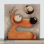 Mini - Big Eye Chicken And Dog#2(Already Framed Canvas)