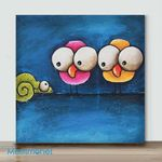 Mini - Big Eye Chicken#4(Already Framed Canvas)