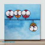 Mini - Big Eye Chicken#1(Already Framed Canvas)
