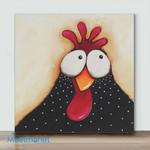 Mini - Big Eye Chicken#6(Already Framed Canvas)