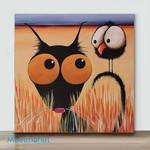 Mini - Big Eye Chicken And Dog#1(Already Framed Canvas)