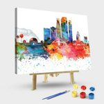 Los Angeles Colorful Watercolor Skyline