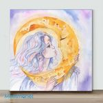 Mini – Selene Painting Moon Goddess Waterc(Already Framed Canvas)
