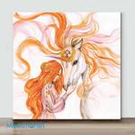 Mini – Unicorn Painting Horse Original Art(Already Framed Canvas)