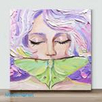Mini – Luna Moth Painting Impasto Oil Woma(Already Framed Canvas)