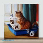 Cat Reading A Newspaper– Mini Paint by Number Kits (Already Framed Canvas)