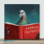 Pigeon Reading Book– Mini Paint by Number Kits (Already Framed Canvas)